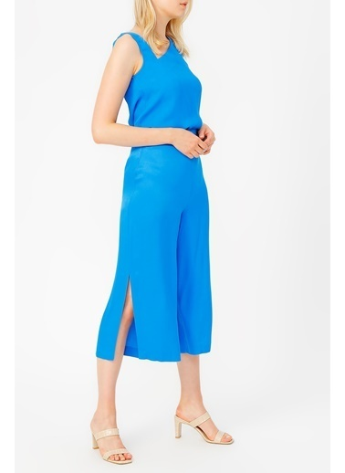 Random Yırtmaç Detaylı Bol Pantolon Mavi